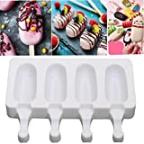 Angoter Silicone Ice Cream Mousse Modella Candy Congelatore Stampo di Legno Fatto a Mano Frozen Yogurt Succo Popsicle Ice Cube Maker Stick