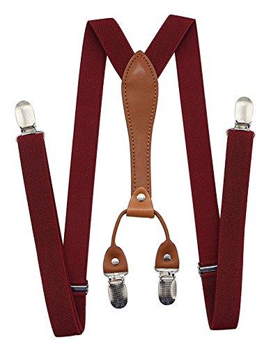 Buyless Fashion verstellbare und elastische Herren Y-Hosenträger mit Metallclips - 5118 Farbe: Burgundy
