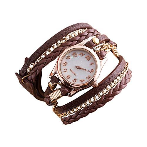 Scrox 1x Damen Stylische Charming Armbänder Weave Wrap Armband Armbanduhr Vintage Elegante Leder Kette Quarzuhr Armschmuck für Männer und Frauen (Braun)