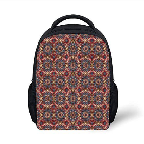 Kids School Backpack Vintage,Arabesque Middle East Ottoman Oriental Famous Carpet Patten Like Glass Artwork,Multicolor Plain Bookbag Travel Daypack -