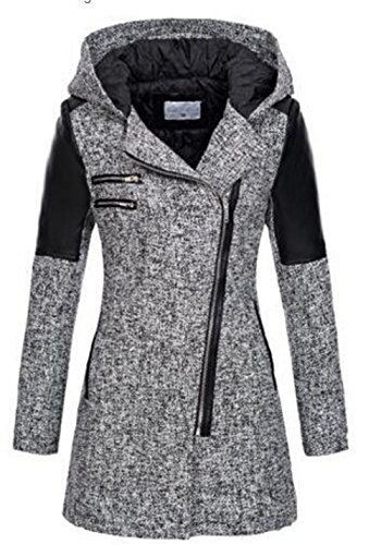 cooshional Damen Mantel Übergangsjacke Winter Parka Woll Jacke mit Kapuze