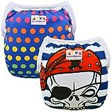 Alva bebé 2pcs Paquete Un tamaño ajustable reutilizable lavable Swim Pañales