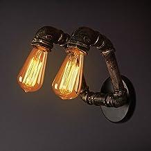 WCUI Lámpara de pared retro del tubo del hierro, vientos industriales de Loft Lámpara de pared creativa del café de la barra Lámparas impermeables al aire libre de la pipa de agua del hierro del balcón 2 Head E27 Seleccionar ( Tamaño : A )