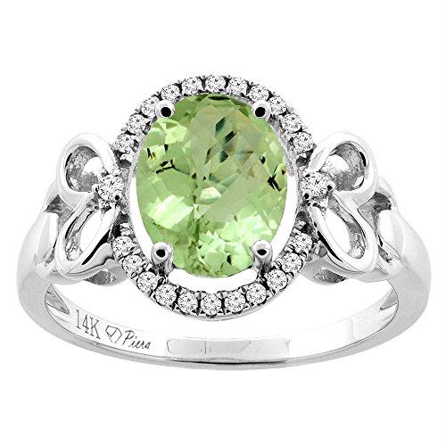 Revoni-Catenina in oro 14 k con peridoto ovale Halo anello, 9 x 7 mm, motivo cuore, diamante & Accents, Oro bianco, 62 (19.7), cod.