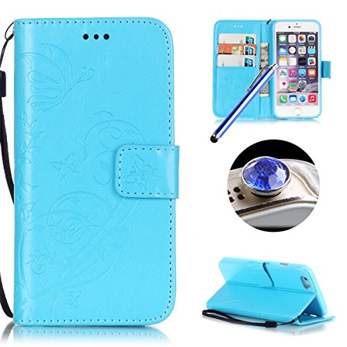 Etsue Cuir Housse pour iPhone 7,Folio Book Style Coque Fermeture Aimanté avec Gratuit Lanière Cover pour iPhone 7,Flip Leather Walllet Case for iPhone 7 + 1 x Bleu stylet + 1 x Bling poussière plug (c Fleur Bleu