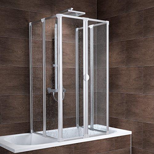 Schulte Duschabtrennung München, 140 cm hoch, 2x3-teilig faltbar, Kunstglas Tropfen-Dekor, alu-natur, geschlossene Duschkabine für Badewanne