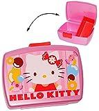 Lunchbox / Brotdose - ' Hello Kitty ' - mit extra Einsatz - Brotbüchse Küche Essen - für Mädchen Kinder - Vesperdose / Trennwand - Trennfach - Vesperbrotdose - Lunchdose Katze Frühstücksdose - rosa Tiere