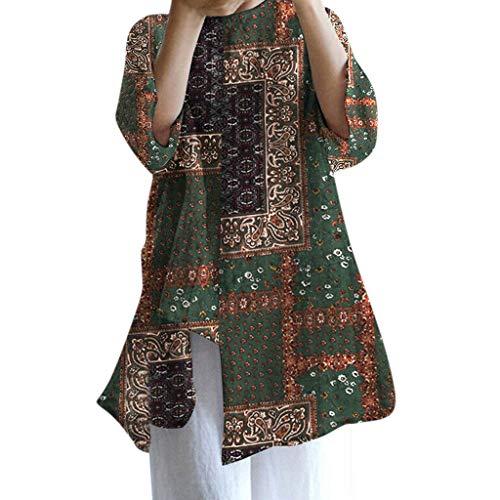 CAOQAO FrüHling Und Sommer Bestes Design Sommer Baumwolle Blumendruck Shirt Asymmetrisch Lose Hemd Long Jump Shirt Shirt LäSsig Atmungsaktiv(Grün,XL)