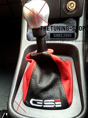 Preisvergleich Produktbild The Tuning-Shop Ltd Schaltsack schwarz Leder & Rot Wildleder Stickerei Gsi