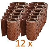 workingHOUSE® Polyrattan-Sichtschutzstreifen, Sichtschutz für Doppelstabmatten Zaun, 19 x 250 cm (12 x Honigbraun)