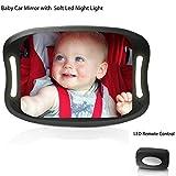 Baby Car Mirror con telecomando luce LED morbido acrilico,Effetto Anti-Oscillazione, Universale Specchietto auto per bambino LUCE A LED - Specchio Retrovisore Posto Bimbi progettati per la sicurezza: Infrangibile | Cinghie a strappo per il fissaggio | Regolabile a 360° | Adatto per qualsiasi veicolo Istallazione Semplice