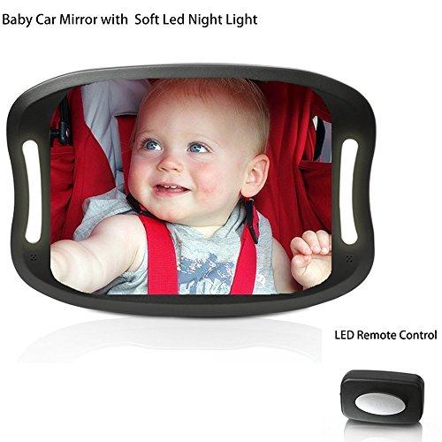Espejo retrovisor de coche para bebés, con mando a distancia, luz LED suave, resistente a los golpes, de acrílico, para ver fácilmente todos los movimientos del bebé, seguridad y ajuste de 360 grados