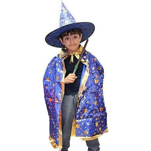 Robelli Jungen/Mädchen blau Zauberer Halloween Kostüm (Hut, Umhang & Zauberstab) (Blaue Halloween-kostüme)