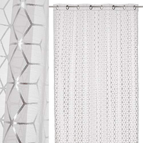 Cortina Visillo Plateada de poliéster Moderna para Dormitorio de 140x