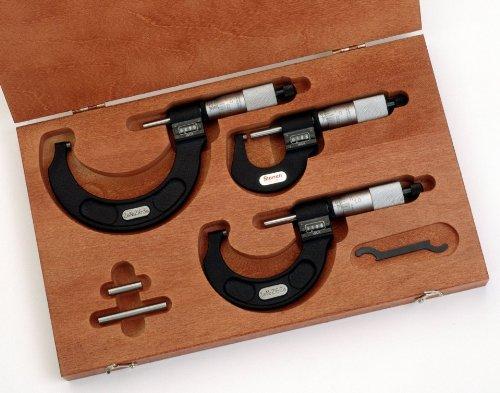Starrett st216axrlz Digital Bügelmessschraube Set, Ratsche Stop, Kontermutter, Hartmetall Faces, 0–7,6cm Reihe, 0cm Graduation (1 4 Kontermutter)