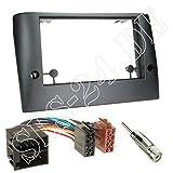Einbauset : Autoradio Doppel-DIN 2-DIN Radioblende Radio Blende Halterung schwarz + ISO Radioanschlusskabel / Radio Adapter + Antennenadapter für Fiat Stilo (192) 2001 - 05/2008