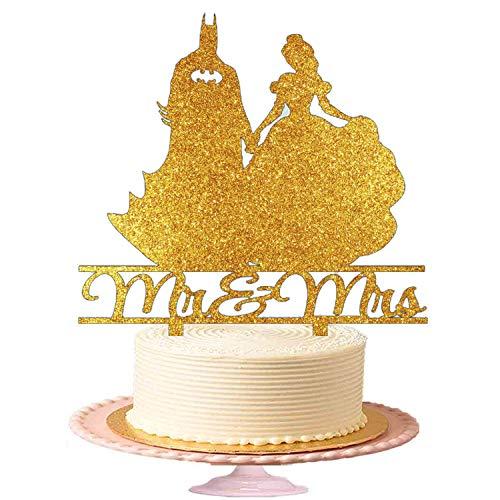 Sharvgun Hochzeitstorte Topper Acryl Figur für Hochzeitstorte Mr & Mrs Batman mit Pretty Girl Golden