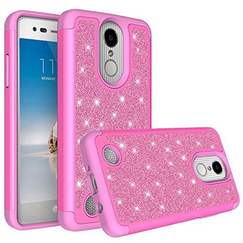 LG K30Fall (X410), LG K102018Fall (MS425) mit [HD Displayschutzfolie] Diamant Glitzer Hybrid Hülle Schutzhülle Case Cover, Hot Pink -