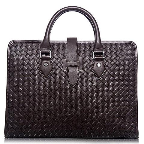 Xinmaoyuan Sacs à main pour hommes Men's sac à main porte-documents d'affaires authentiques hommes sac de messager d'épaule de tissage, Marron
