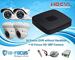 Hi Focus 4 CH 720P HDCVI DVR, 1.0 MP 2 Pc Dome 2Pc Bullet CCTV HDCVI Security Camera System