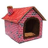 ushang suave de interior Cálido Mascota Caseta grande, perro casa Rojo camas con alfombrilla