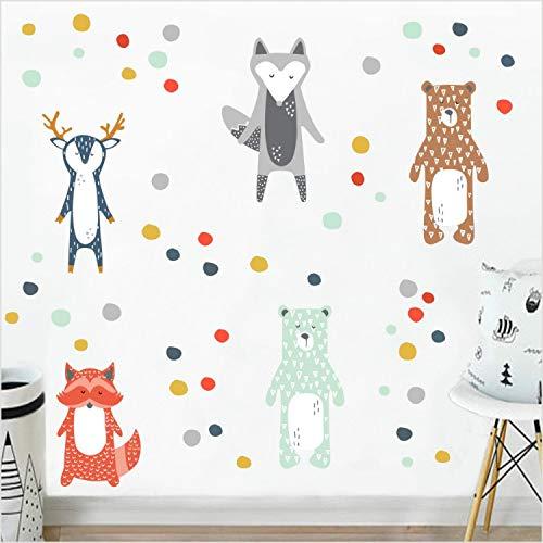 xmydeshoop Cartoon Waldtiere Giraffe Bär Fuchs DIY Wandaufkleber Für Kinderzimmer Kindergarten Wand Dekor Kindergarten Kunst Aufkleber Poster