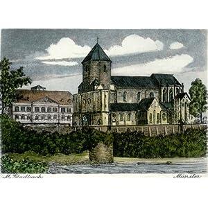 Kunstverlag Christoph Falk Einfarbige Radierung Mönchengladbach, Münster als Loses Blatt