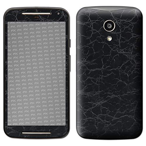 atFolix Skin kompatibel mit Motorola Moto G 2. Generation 2014, Designfolie Sticker (FX-Rugged-Leather-Black), Grobe Leder-Struktur