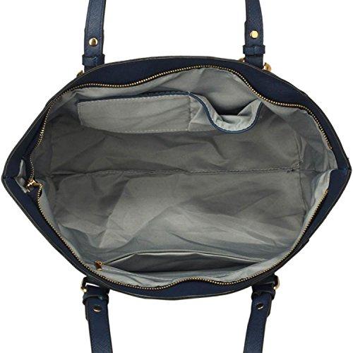 """xardi Londra 12""""grande borsa a tracolla donna in pelle sintetica maniglia borsa lavoro college Donna Tote Navy"""