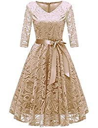 RAISEVERN Vestiti Donna Elegante Cerimonia 1 2 Lunghi Maniche con Una  Cintura Sera Abito Retro 482f8981701