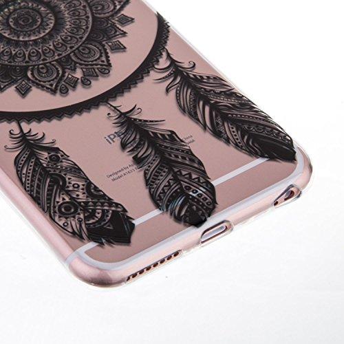 Custodia in silicone nero iPhone 64.7pollici, iPhone 6S, colore: nero, con design, vioela Unique Pretty Pizzo Floreale Nero Art Flower Henna Mandala elefante Ananas Dandelion Pittura Dipinto Design  Dreamcatcher