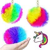 German Trendseller 1 x llavero los colores del arco iris┃fluffy...