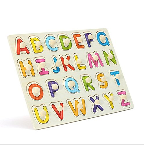 CCINEE 58pcs Wooden Jigsaw Deluxe Classic Peg Puzzle Bundle 3 Alphabet/Number/ Fruit Set Toys Educational Letter Games