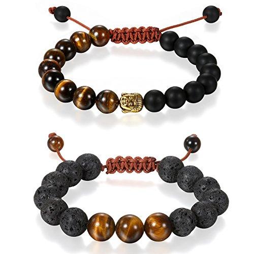 Aroncent 2PCS Herren Damen Buddha Armband, 10MM Breite Buddhismus Energietherapie Kristall Armreif Kugeln Perlen Gebet Mala Stretch Energiearmband, Schwarz Braun Rot Gold