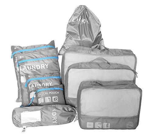 Eazeehome 9 Sets Reiseveranstalter Verpackungswürfel Gepäck Organizer in Koffer Koffertaschen Reisegepäck Wasserdichte Robuste (9Sets Grau)