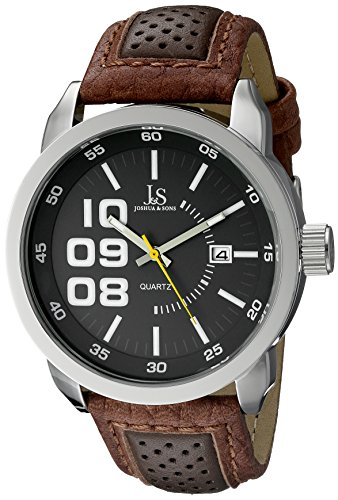 Joshua & Sons Men's JX106GY Silver-Tone Watch with Two-Tone Strap