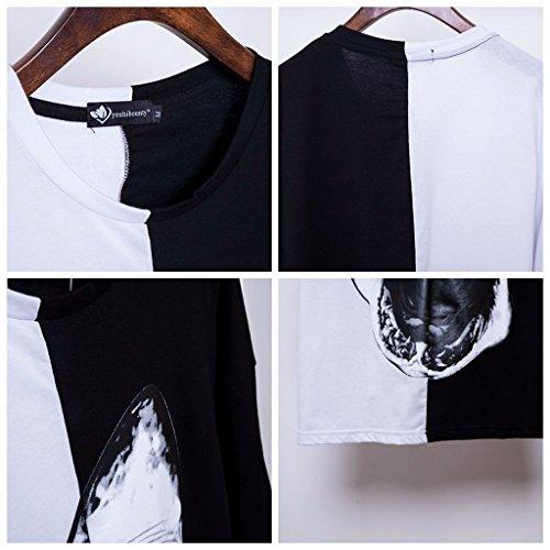 Pizoff Unisex 17SS Designer-Modelle Extrem oversize Baumwolle T-Shirt mit Stickrei und Druckmuster C7049-03