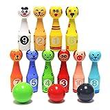 S.D. Maket Bowling per bambini legno Bowling Birilli Giocattoli animale educativi interattivi (10 pin + 3 palle)