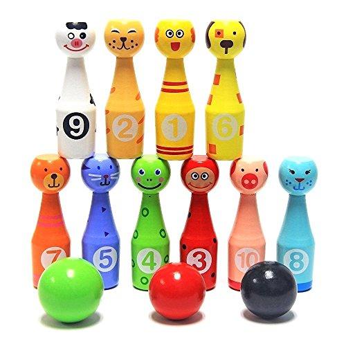 Juego de bolos de madera para niños Animales educativos juguetes interactivos (10 Botellas + 3 Bolas)