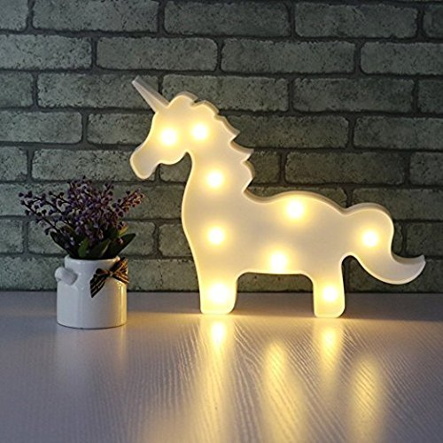 37YIMU - 3D LED unicornio noche lámpara luz fiesta