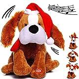 Unbekannt XL - singender & Tanzender - Hund - Jingle Bells - Plüschtier mit Sound & Bewegung - 26 cm - aus Stoff / Plüsch - Weihnachtsmann / Weihnachtshund / Welpe - Ti..