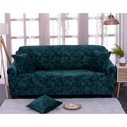 NanSy Telar Castillos hinchables, Elástico 1,2,3,4 plazas Funda para sofá Todo Incluido Felpa A Prueba de Polvo Lavable Clip de Dinero Funda Cubre sofá-Verde Single Seat 35-55inch