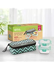 Allo FoodSafe Microwave Safe Glass Lunch Box with Break Free Detachable Lock   450°C Oven Safe High Borosilicate   Office Tiffin with Chevron Mint Flat Bag   Set of 2