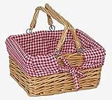 Mini rettangolo leva perno Shopper cesto con rosso / bianco di spunta