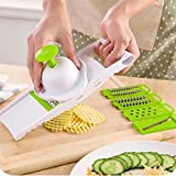 H-Store 6 in 1 Multi-Function Slicer/Shredder With Holder Cuts Fruits & Vegetables, Interchangeable Stainless Steel Blades Multi-function Vegetable Slicer & Grater