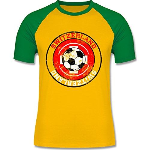 EM 2016 - Frankreich - Switzerland Kreis & Fußball Vintage - zweifarbiges Baseballshirt für Männer Gelb/Grün