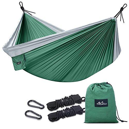 Moko outdoor amaca matrimoniale - tessuto nylon da paracadute resistente, portabile & leggero, per campeggio, escursione, viaggio, spiaggia, giardino, capacità di carico 200kg, 300 x 200cm