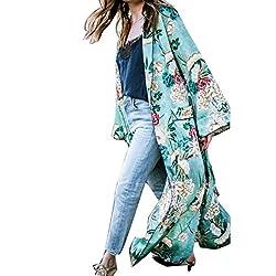 Women Long Cardigans, ❤️ Familizo Women's Bohemia Floral Tassel Long Kimono Oversized Shawl Tops Cover up Ladies Maxi Loose Bikini Cover-up