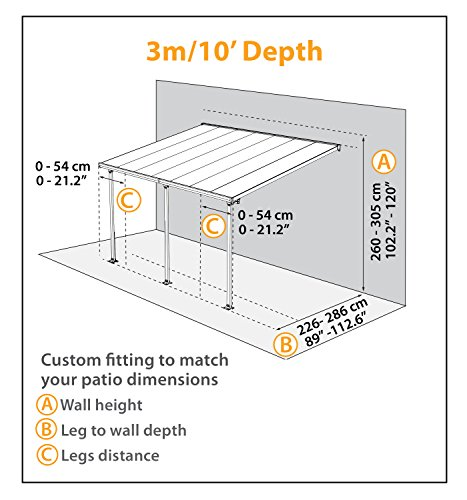 Hochwertige Aluminium Terrassenüberdachung, Terrassendach 300×730 cm (TxB) – weiß - 6