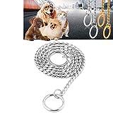 KANEED Hundehalsbänder, Geschirre, Hundehalsband Halsband Hundehalsband Schlangenkette Hundekette solide Metallkette Hundehalsband , Länge: 55cm (Gold) (Farbe : Silver)